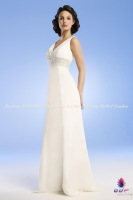 Свадебное платье 2012A+Top Quality! New Design! Chiffon Halter A-line Gown with Embroidery and Beading Decorated Wedding Dress