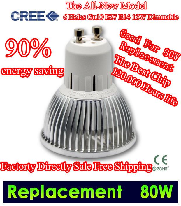 LED gu10 MR16 3*3w 6w LED Light LED CREE Dimmable High power Spot Bulb