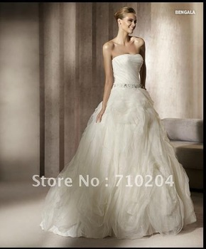 2012 White Hot-Sale Famous Brand  Beautiful Wedding Dress Expansive Organza Crystal Wedding Gown PR 411