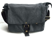 Free Shipping! Washed canvas + genuine leather Sling Bag  Men's Messenger Shoulder Bag leisure bag 2371 gray