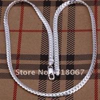 Wholesale&retail Free shipping fashion silver 5mm incline slant tilt rough chain necklace fashion silver jewelry HOT sale CTN146