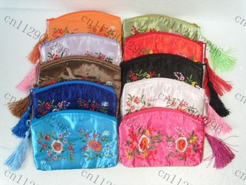 Free Shipping! Lot of 100 pcs beautiful CHINA Embroidery SILK PURSE coin BAG  Women Lady flower Wallet/Purse Handbag makeup bag