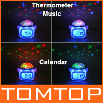 Music Starry Alarm Projection Clock Star Sky Calendar Thermometer with retail package Dropshipping Best gift !