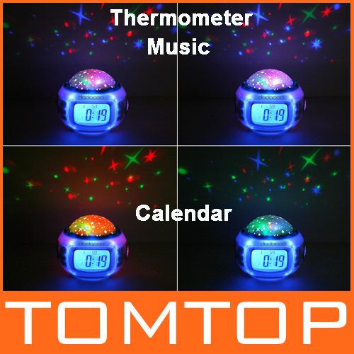 Music Starry Alarm Projection Clock Star Sky Calendar Thermometer with retail package Dropshipping Best gift !(China (Mainland))