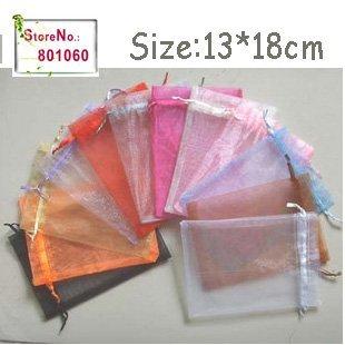 free shipping 1000pcs/lot 13*18cm Black Organza bags, gift bag, jewelry bag, organza pouch