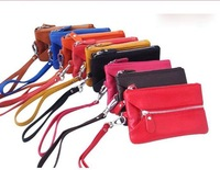 2012 on sale leather bag lady head layer cell phone key bag ladies leather wallet multi-function zero small package