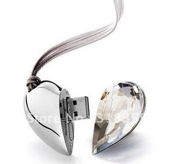 Hot! Heart jewelry USB Flash Drive 2GB/4GB/8GB Crastla  usb flash memory  Free shipping + free gift box