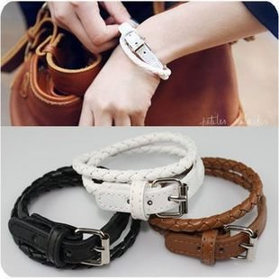 Min.order is $15 (mix order) New Style Fashion Belt Buckle Style Leather Bracelet S5014(China (Mainland))