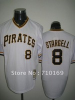 Free Shipping Pittsburgh Pirates #8 STARGELL white color baseball jerseys size 48-56 mix order