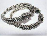 wholesale --------Rare Tibet silver detailed carved Dragon men's bracelet