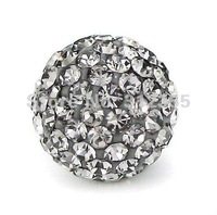 Wholesale 12mm gray Shamballa beads, New Shamballa crystal bead Micro Pave CZ Disco Ball beads, free shipping,