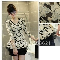Женская футболка 2012 new Women's Fashion Off Shoulder Leopard Short sleeve T-Shirt 715 Black White