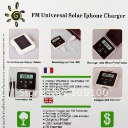 Free shipping /High Quality/FM Transmitter + Universal Solar Charger for iPhone ipod Cell Phone(China (Mainland))