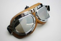 5pcs/lot Motorcycle Scooter Steampunk Cruiser Helmet Goggle Eyewear Silver Lens T08Y  motorcycle goggle