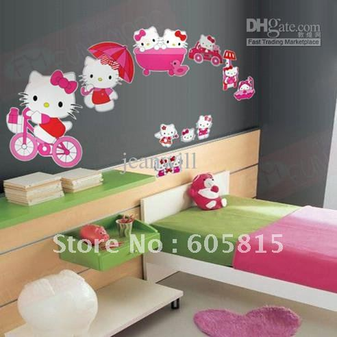 Hello Kitty Wall Decal Sticker Kids Wall Stickers Decals Nursery Wall Art Decor 33x60cm YS-017(China (Mainland))