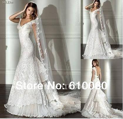 Sexy Mermaid White Lace VNeck Backless Short Sleeve Wedding dress