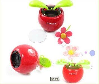 20pcs/lot Hot sale Dancing Flower Solar,Solar Powered Flower,Flip Flap Swing Flower For Car/Home Gift,Free Drop shipping