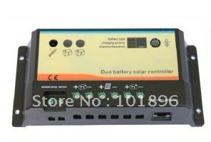 2013 CRAZY SALES!! 20A Dual battery solar controller with remote meter,solar charge controller(China (Mainland))