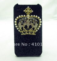 Bling blingy CROWN black back cover case for iphone 4 4S A84