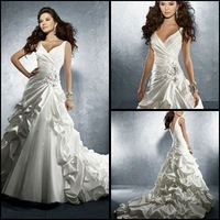 Free shipping Glamorous Staps Satin  Wedding Dress