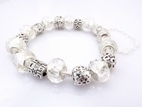 Hot!Free Shipping  925 Sterling Silver jewelry charms bracelet silver bracelet.clear crystal beads bracelet  Pp09