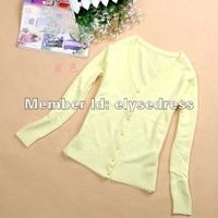 cardigan sweater 2012 fashion women winter sweaters womens clothing wool blend knitting cardigans yellow blouse for women