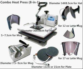 8 IN 1 Tshirt/Mug/Cap/Plate Combo heat press machine,Heat press,Sublimation machine,Press machine,Heat transfer machine