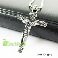 Free shipping +Wholesale Men's All Silver Stainless Steel Jesus Cross Chain Pendant Necklace Cool Gift New Item ID:3565
