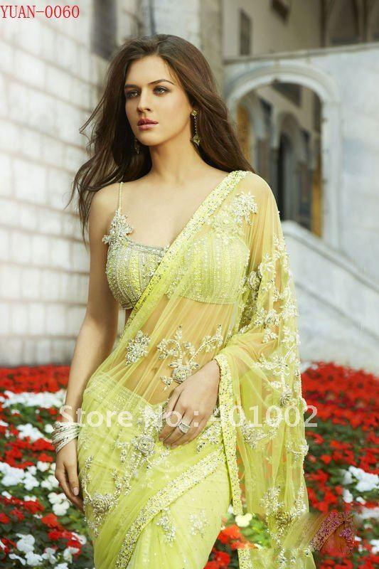 Free shipping retail yellow beading indian wedding dress