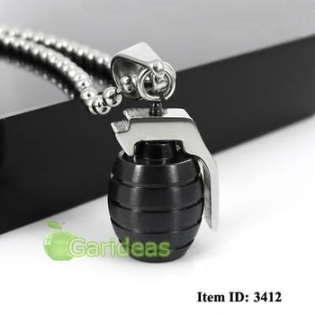 Free shipping +Wholesale Men's Stainless Steel Black&Silver Grenade Chain Pendant Necklace Cool Gift New Item ID:3412