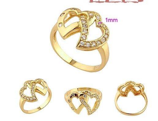 charming 18k gold lover hearts ring free shipping jpg