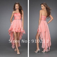 Custom Made 2012 Summer A-line Hi-Low Zipper Ruffles Christmas Short Strapless Asymetrical Prom Dress