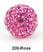 New Arrival Shamballa Beads Rose Gem Pave Crystal Round Ball Bracelet Beads Size 10mm Red Free Shipping S209(China (Mainland))