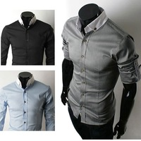Free Shipping Mens Shirts Mens Casual Shirts Slim Fit Stylish Mens Dress Long Sleeve Shirts Colours:Blue 6051