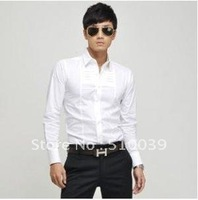 Мужская повседневная рубашка New Sale Men's Brand Shirt Solid Color Casual and Slim