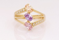 Gorgeous 9k Solid Yellow Gold  Sapphire Three Dimonds Ring SZ7.5 P180, Gold Ring,Free Shipping,