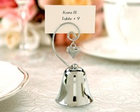 FREE SHIPPING +Charming Chrome Bell Place Card/Photo Holder with Dangling Heart Charm+100pcs/LOT