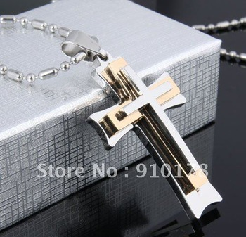 fashion wild three layers cross pendant titanium steel necklace stainless steel jewelry lovers gift