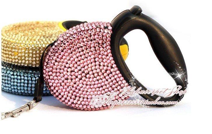 $20off per $300 order.free shipping!Automatic retractable Dog leash,High-grade diamond pet leash. 5pcs/lot(China (Mainland))