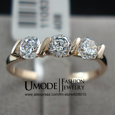 18K Rose Gold Plated 0.25ct * 3 Pieces Zirconia Diamond Ladies Jewellery Rings (Umode JR0063A)(China (Mainland))