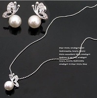 Hot Fashion Jewellery set  Beautiful Women Lady Girl Butterfly Imitation Pearl Earrings & Necklace Sets  free shipping