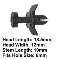 100 Pcs/Lot Screw Type Retainer Clip Fastener Replace Nissan 66824-W1000 Fit Into 6mm Hole, Head Size 18.5mm x 12mm Plastic Clip