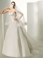 Free Shipping Hot-sale  Strapless Appliques Satin  Wedding Dress