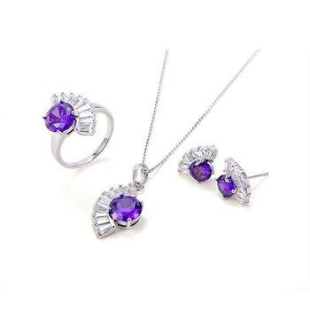 Bright Purple Stone Jewelry Set  with Fan Shape