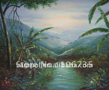 Beautiful art canvas handmade village landscape high quality wholesale oil painitng canvas oil painting hot sale