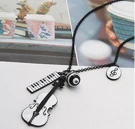 Min.order is $15 (mix order) Free Shipping Korean Music Guitar Piano Theme Fashion Necklace X4236(China (Mainland))