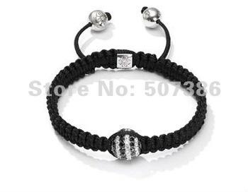 New Shamballa jewely 10MM European Crystal Hip Hop Disco Balls Macrame Bracelet Charm Beads, shamballa bracelet C-PX08