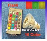 LED 3W RGB spotlight E27 Wireless Remote Control RGB Flash LED Spot Light BULB LAMP