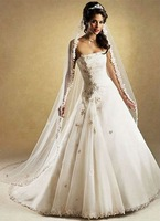 Free Shipping Hot-sale Embroidery    Strapless Organza  Wedding Dress
