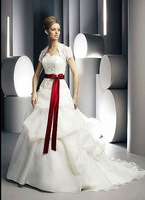 Free Shipping Hot-sale  Embroidery  Cascading Ruffle Strapless Organza  Wedding Dress